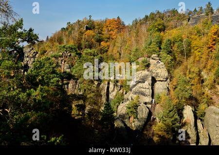 Elbsandsteingebirge, Saxon Switzerland, burr way and middle corner in the Schrammsteinmassiv, Sächsische Schweiz, - Stock Photo