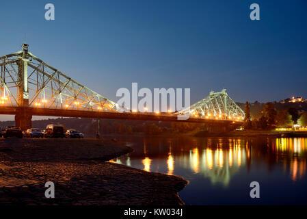 Dresden, Loschwitzer bridge nasty surprise, Loschwitzer Brücke Blaues Wunder - Stock Photo
