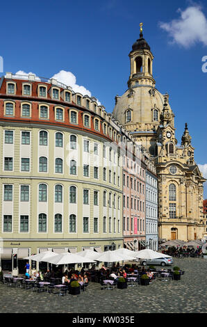 Dresden, New market with Church of Our Lady, Neumarkt mit Frauenkirche - Stock Photo