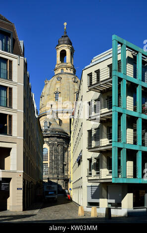 Dresden, reconstructed Church of Our Lady and new buildings in the new market, Rekonstruierte Frauenkirche und Neubauten - Stock Photo