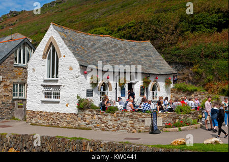 The reconstructed Harbour Light Café in Boscastle, Cornwall, UK - Stock Photo