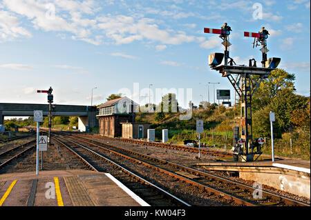 Semaphore railway signalling at Great Yarmouth railway station - Stock Photo