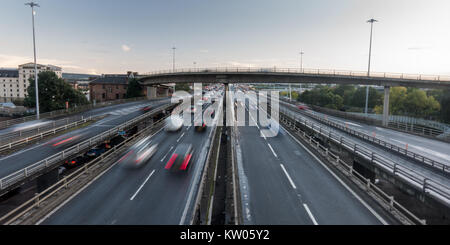 Glasgow, Scotland, UK - September 29, 2017: Heavy traffic moves on the M8 motorway in central Glasgow during rush - Stock Photo