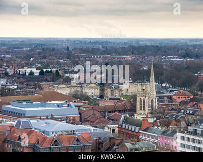 York, England, UK - January 28, 2017: From York city centre, including the castle keep, the countryside of Yorkshire - Stock Photo