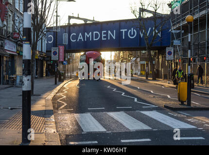 London, England - 12 January 2016: A New Bus For London double-decker bus at Chalk Farm Road during sunrise in Camden - Stock Photo