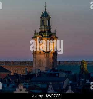 Smiling church - Storkyrkan in Stockholm by night - Stock Photo