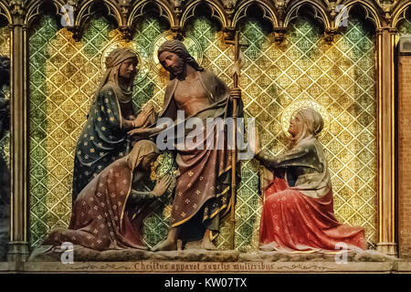 One of the frescos on the wall of the Catholic Church of Sacre Coeur in Montmartre in Paris. - Stock Photo