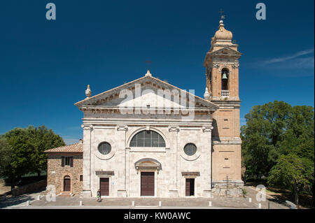 Renaissance Chiesa della Madonna del Soccorso (Church of Our Lady of the Rescue) with neoclassical facade in Montalcino, - Stock Photo