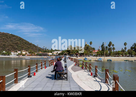 View of Chapala town from the pier on Lake Chapala, Jalisco, Mexico - Stock Photo