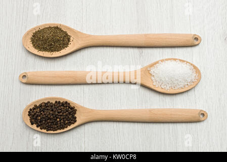 wooden spoons with salt, pepper and oregano on table. - Stock Photo