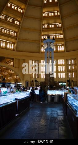 the Dome and Clock Tower of Central Market Phsar Thmei  Art Deco style in Phnom Penh Cambodia from the French Colonial - Stock Photo