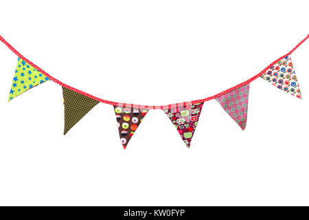 colorful garland on a white background - Stock Photo