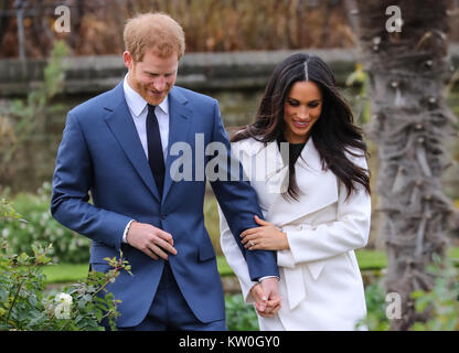 Prince Harry and Meghan Markle officially announce their engagement at Kensington Palace  Featuring: Prince Harry, - Stock Photo