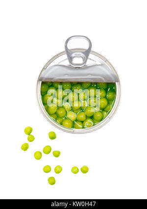 Preserved green peas vegetable in open metal tin. Closeup on white background. - Stock Photo