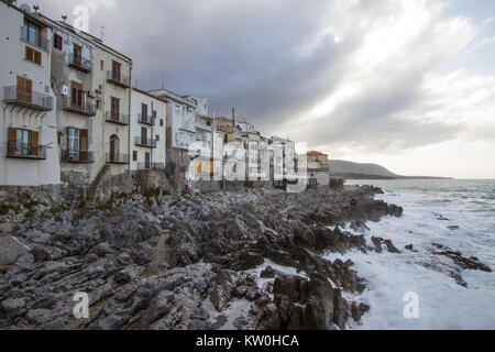 European Coastal travel townof Cefalu in Sicily, Italy. - Stock Photo