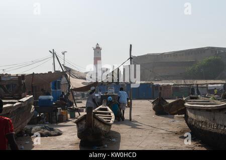 Jamestown lighthouse, 'Christ the King of Kings School' in Jamestown Fishing Village, Jamestown, Accra, Ghana - Stock Photo