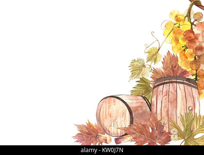 Wooden barrels and leaves of grapes, isolated on white. Hand drawn watercolor illustration. Banners of wine vintage - Stock Photo