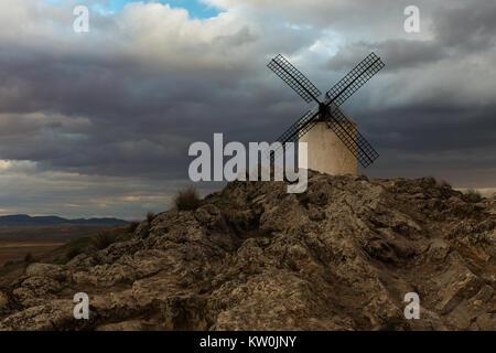 Traditional white windmill in Consuegra, Toledo, Spain. - Stock Photo