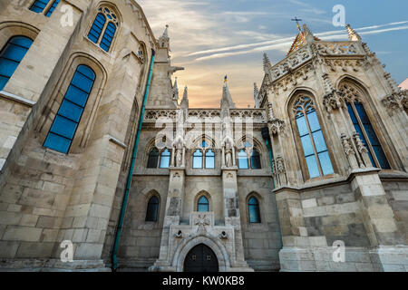 Matthias Church, a roman catholic church in the gothic style located at the Buda Castle District in Budapest Hungary - Stock Photo