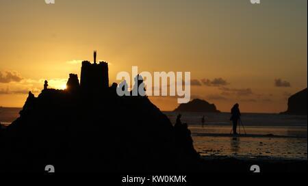 SONY DSC, sandcastle sunset, Polzeath, Cornwall - Stock Photo