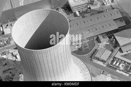 TARONG, AUSTRALIA, CIRCA 1980: aerial view of a cooling tower at a coal-fired power station during construction - Stock Photo