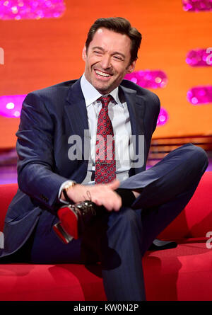 EMBARGOED TO 0001 FRIDAY DECEMBER 29 Hugh Jackman appearing on the Graham Norton Show filmed at the London Studios, - Stock Photo