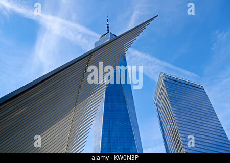 Detail of the Oculus in front of One World Trade Center, Manhattan, New York, New York - Stock Photo