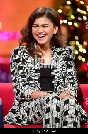 EMBARGOED TO 0001 FRIDAY DECEMBER 29 Zendaya appearing on the Graham Norton Show filmed at the London Studios, London - Stock Photo