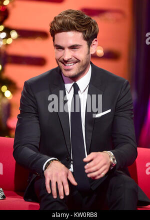 EMBARGOED TO 0001 FRIDAY DECEMBER 29 Zac Efron appearing on the Graham Norton Show filmed at the London Studios, - Stock Photo