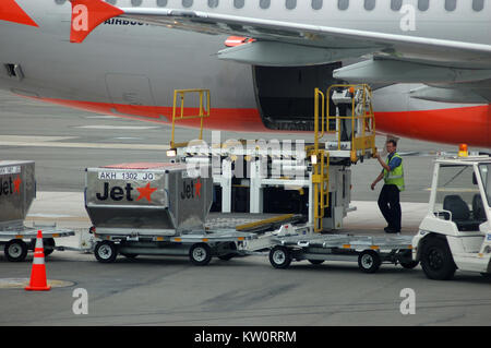 CHRISTCHURCH, NEW ZEALAND, CIRCA 2007: Airbus A320 waits on tarmac for its luggage to be loaded circa 2007 at Christchurch - Stock Photo
