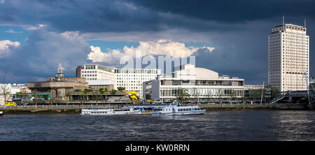Clouds over London Southbank with the River Thames, Shell Centre Tower, Royal Festival Hall, Queen Elizabeth Hall - Stock Photo