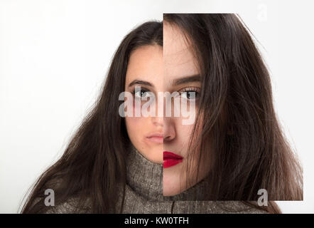 Concept of domestic violence and keeping up appearances with the battered bruised face of a pretty young woman overlaid - Stock Photo
