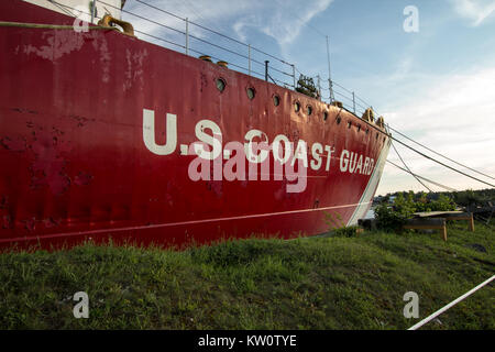 United States Coast Guard Ship. The US Coast Guard icebreaker Mackinaw is retired ship that now operates as a museum - Stock Photo
