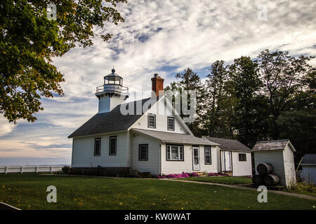 Old Mission Point Lighthouse In Michigan. The Old Mission Point lighthouse is a popular landmark in Traverse City, - Stock Photo