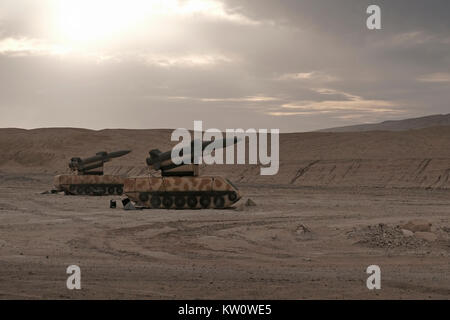Inflatable decoy missile system of the Israeli military defense deployed in the western of the Arabah valley known - Stock Photo