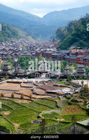 Zhaoxing Village, Liping County, Guizhou Province, China - Stock Photo