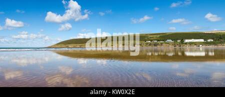 Panoramic View of Saunton Sands in North Devon, UK - Stock Photo