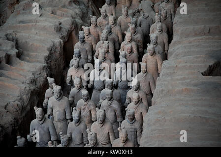 The Qin Tomb Terracotta Warriors and Horses, Xi'an, China - Stock Photo