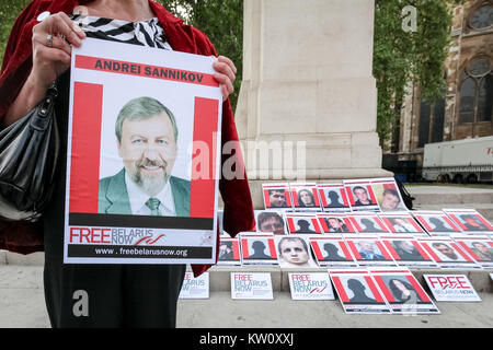 Free Belarus Now protest opposite Westminster's Parliament buildings. London, UK. - Stock Photo