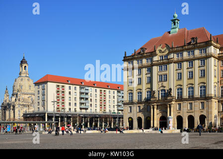 Dresden, house Old market and Church of Our Lady, Haus Altmarkt und Frauenkirche - Stock Photo