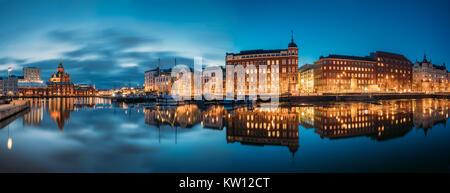 Helsinki, Finland. Panoramic View Of Kanavaranta Street With Uspenski Cathedral And Pohjoisranta Street In Evening - Stock Photo