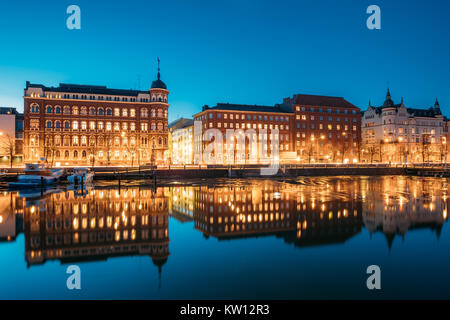 Helsinki, Finland. View Of Pohjoisranta Street In Evening Or Night Illumination. - Stock Photo