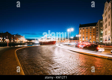 Helsinki, Finland. Night Traffic In Pohjoisranta Street In Evening Or Night Illumination. - Stock Photo