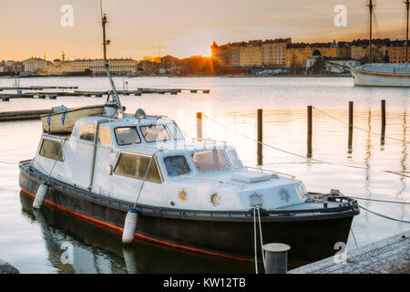 Helsinki, Finland. Marine Boat, Powerboat Moored At Berth In Sunrise Time In Winter Morning. - Stock Photo