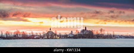 Helsinki, Finland. Panoramic View Of Sunrise Landscape Of Blekholmen Valkosaari Island And Luoto Island. - Stock Photo