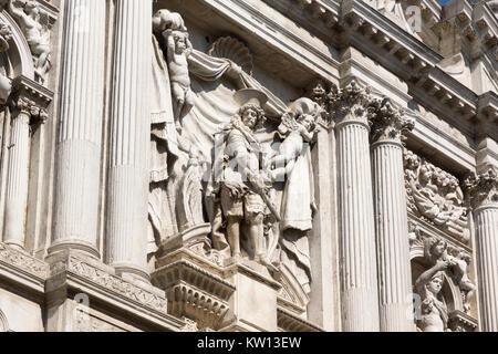 A detail from the facade of the Chiesa di Santa Maria del Giglio - Stock Photo