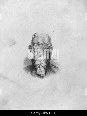 An etching from a portrait of Alexander Hamilton, he was one of the Founding Fathers of the United States of America, - Stock Photo