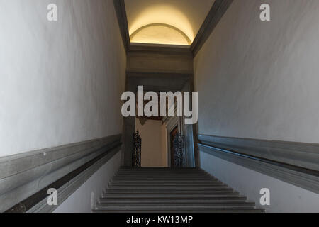 Italy, Florence - May 18 2017: the view of staircase in Palazzo Vecchio on May 18 2017 in Florence, Tuscany, Italy. - Stock Photo