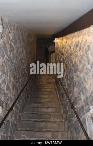 Italy, Florence - May 18 2017: the view of the staircase in Palazzo Vecchio on May 18 2017 in Florence, Tuscany, - Stock Photo