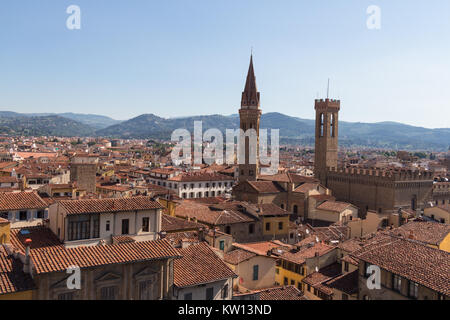 Italy, Florence - May 18 2017: the view of the red roofs from Palazzo Vecchio in a sunny day on May 18 2017 in Florence, - Stock Photo